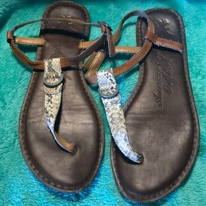 American Eagle Outfitters Snakeskin Flat Sandals